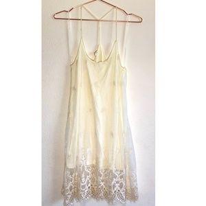 {En Creme} White Lace Strappy Dress